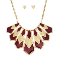 Gold Tone Aztec Necklace and Earring Set in Burgandy Enamel