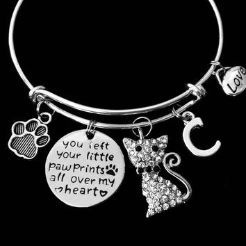 Personalized Crystal Cat Memorial Gift Expandable Charm Bracelet Silver Adjustable Bangle You Left Your Little Paw Prints All Over My Heart Cat Loss Pet Loss Jewelry One Size Fits All Gift