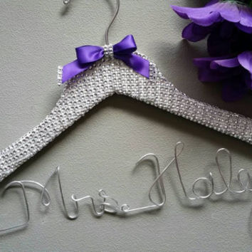 Bling - Mesh Rhinestones Bride Custom Wire Wedding Hanger for the Princess and her special day. Great wedding engagement gift.