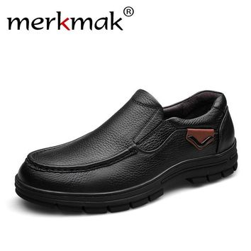 Merkmak Men's Genuine Leather Shoes Business Dress Moccasins Flats Slip On New Men's Casual Shoes Dress Mens Oxford Shoes 38-47