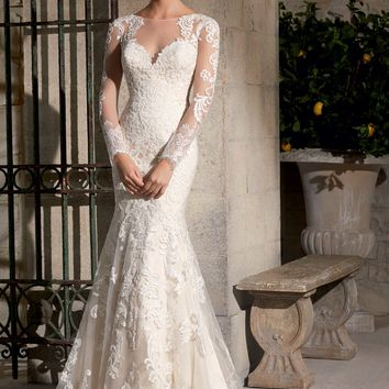 Mori Lee 2725 Lace Long Sleeve Wedding Dress