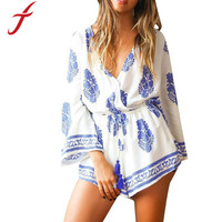 Feitong Women Jumpsuit Sexy Deep V Neck Print Drawstring Flare Sleeve Mono Mujer Rompers Playsuit Macacao Feminino Free Shipping