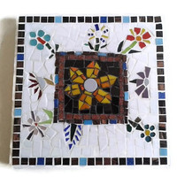 Trivet Glass Mosaic Kitchen Home Decoration Colorful Flowers