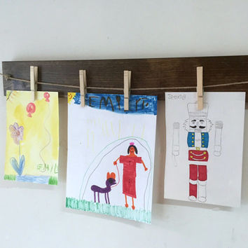 Children art display, clothespin photo frame, rustic wood picture frame, photo display photo holder child art hanger jute twine