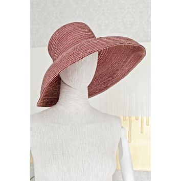 Vintage 1980s Dusty Rose + Straw Sun Hat