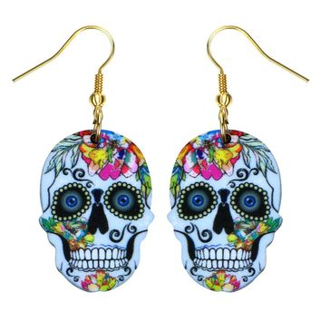 Acrylic Sugar Skull Earring Mexican Day of the Dead 22 styles