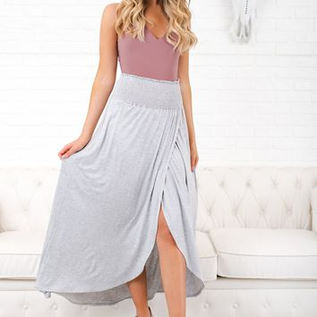 Not Happening Maxi Skirt (Heather Grey)