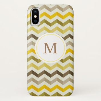 Yellow Monogram Chevron Pattern iPhoneX Case
