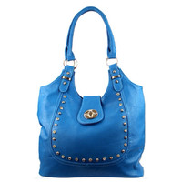 Fashionable Silver Stud Accented Beautiful Blue Shoulder Bag, Purse, Women's Accessories