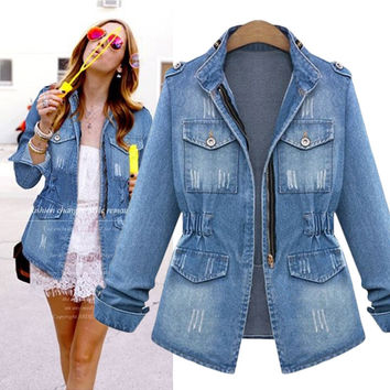 Slim Frayed Pocket Long Sleeves Denim Coat