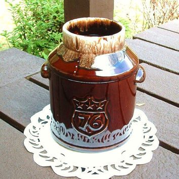 Vintage McCoy Drip Brown Pottery Cookie Jar Crock Milk Can Spirit of 76 1976 - 1996