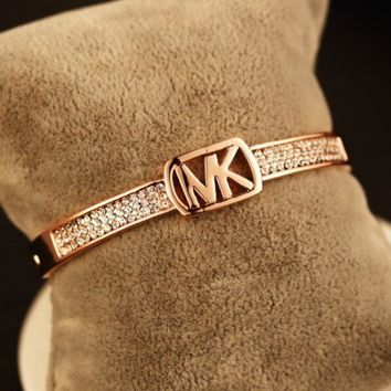 MK Fashion Women Letter Diamond Bracelet Crystal Hand Catenary I12871-2