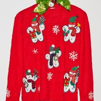 Retro Gold X-Mas Snowman Sweater - Womens Sweater - Red - One