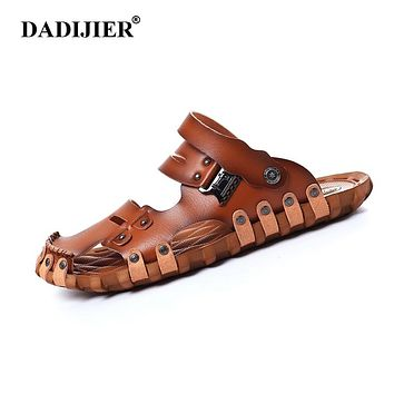 DADIJIER 2018 Fashion Style Man Sandals Casual Flat Heels Spilit Leather Male Retro Beach Slipper Men's Roman Summer Shoes ST96