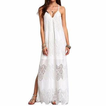 Long Maxi Dresses 2017 Women Boho Vestidos Summer Beach Wear Cream Deep V Neck Split Slip Sleeveless Dresses Plus Size-0407
