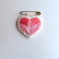 Pink embroidered heart brooch with a gold safety pink on cream muslin and cream felt perfect for Mother's day