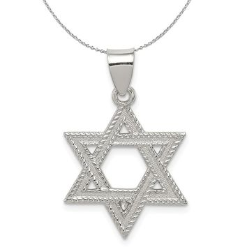 Sterling Silver Satin Textured Star of David Charm or Necklace