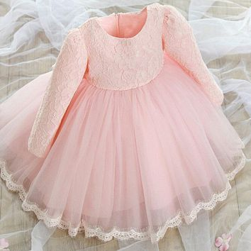 Promotion! baby girl baptism dress new designs kids clothes Lace 1 year baby birthday dress long sleeve party dress for girl