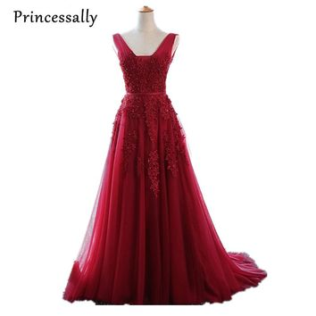 Robe De Soiree Wine Red Lace Beading Sexy Backless Long Evening Dresses With Train Bride Elegant Floor-length Party Prom Dress