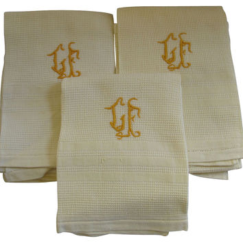French Monogrammed  Towels, S/5