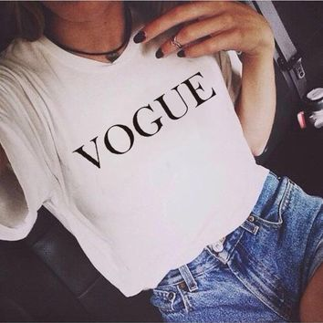 Vogue summer new women's wear fashion knitwear and T-shirt customized printing