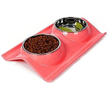 Double Dog Cat Bowls Stainless Steel Pet Bowls No-skid No Spill Pet Food Water Feeder