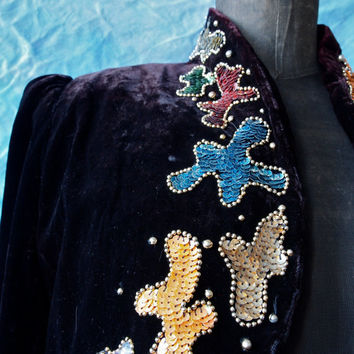 Vintage Bolero 80's Black Velvet Gypsy Bolero Jacket with Sequin and Bead Design size s/m