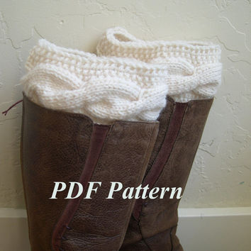 Cable knit Boot Cuffs Pattern, Boot cuffs tutorial, Easy Knit and Crochet PDF Pattern, Cable knit pattern, Legwarmer pattern, boot toppers