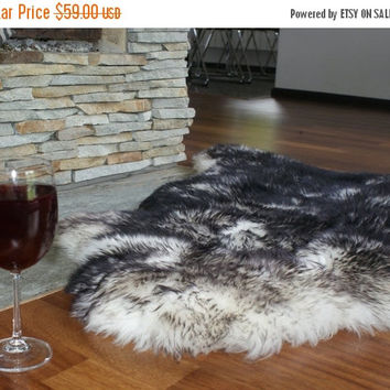 "ON SALE BIG Sheepskin 48 ""x 28"" Black Mouflon Throw Genuine leather Sheep Skin Decorative rug Natural comfy, cozy, hair is very thick, shiny"