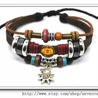 Adjustable Bracelet Cuff made of Black Leather Ropes and Color Wooden Beads Sunflowers  Jewelry bangle bracelet 525S