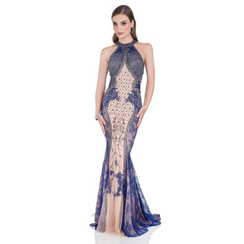 Terani Couture Women's Intricately Beaded Halter Evening Gown