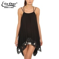 High-low Textured Trim Top In Black Tanks Plus Size Casual Women Clothing Chic Sexy Chiffon Lady Tops