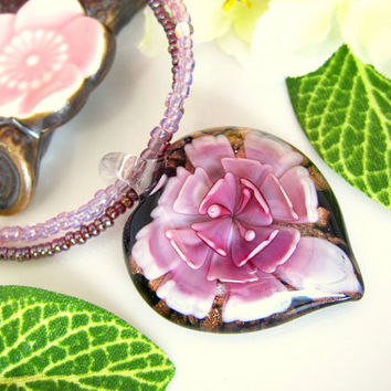 Pink and black glass heart lampwork pendant necklace