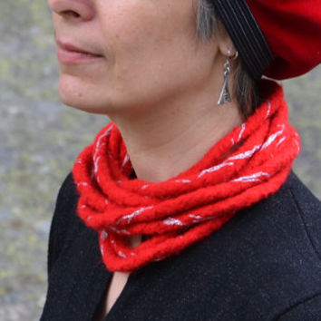 Felted multi-strand scarf necklace Woolen neck warmer Skinny infinity scarf Fiber jewelry Bright red sheep wool, silver colored glitter yarn