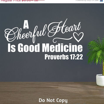 Holiday Sale: Personalized Word Art Vinyl Wall Decal Sticker A Cheerful Heart Is Good Medicine Proverbs Bible Verse Gift Happy Joy Joyful