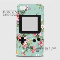 Mint Floral Gameboy 3D Cases for iPhone 4,4S, iPhone 5,5S, iPhone 5C, iPhone 6, iPhone 6 Plus, iPod 4, iPod 5, Samsung Galaxy Note 4, Galaxy S3, Galaxy S4, Galaxy S5, BlackBerry Z10 phone case design