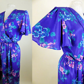1970s  Purple Polyester Floral Dress // Beautiful Flair Bell Sleeves // Elastic Waist // Blues Purples Pinks // Small Medium