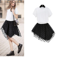 White Knit Top Asymmetric Polka Dot Dress