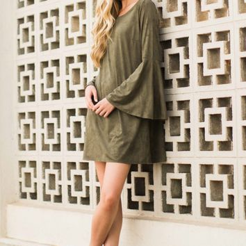 Easy To Per Suede Dark Green Dress