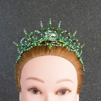 Professional Ballet Headpiece. Emerald Green.