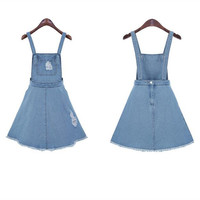 Women Casual Hole Denim Overall Suspender Dress Strap Summer Party Skirt S-XL