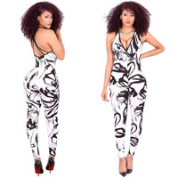 White Cross Back Jumpsuits