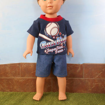 18 Inch Boy Doll Clothes, Screenprint T shirt, Baseball T-shirt with Jean Shorts, Navy T-shirt and Blue Denim Shorts, Summer Doll Clothes