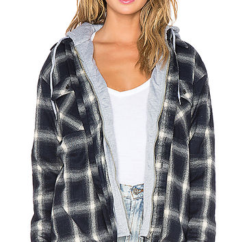 UNIF Vago Hoodie in Navy Plaid & Grey