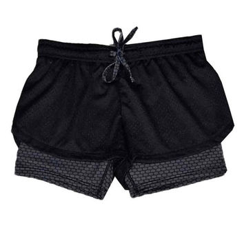 Women   Fitness Shorts Femme Patchwork Casual Workout Waistband Drawstring Skinny Shorts Women Short Pants #63 SM6