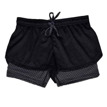 Women   Fitness Shorts Femme Patchwork Casual Workout Waistband Drawstring Skinny Shorts Women Short Pants #63 BL