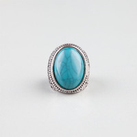 Full Tilt Oval Turquoise Ring Silver  In Sizes