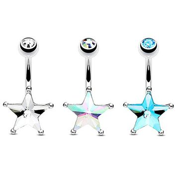 BodyJ4You 3 Pieces Belly Button Rings Crystal Star Curved Barbell Piercing Bar 14G Surgical Steel