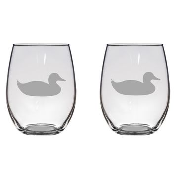 Swimming Duck Engraved Glasses Pond, Bird, Gift Free Personalization