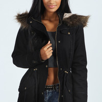 Alia Faux Fur Leather Trim Parka